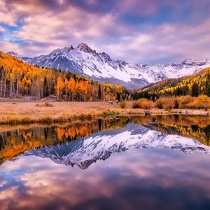 Mount Sneffels Fall Foliage Reflection