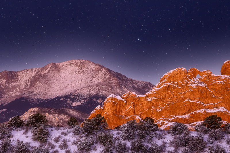 Pikes Peak and Kissing Camels at Night
