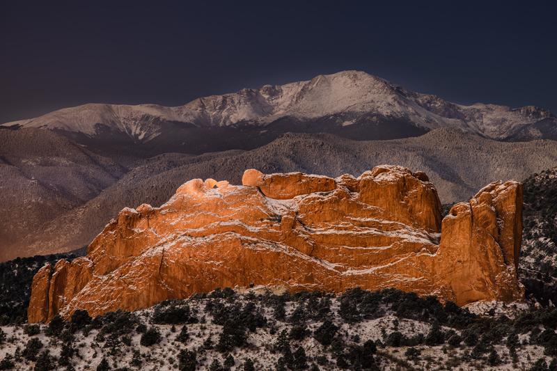 Moonlit Pikes Peak and Garden of the Gods